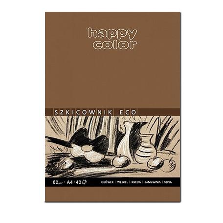 Blok szkicowy ECO z szarym papierem, Happy Color, 80 ark. A4, 80