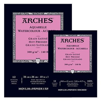 Arches, satynowy blok do akwareli, 14,8 x 21cm, 12 ark. 300g