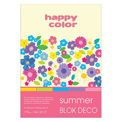 Blok DECO Summer A4 Happy Color, 170g