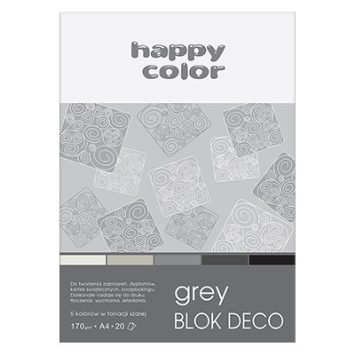 Blok DECO Grey A4 Happy Color, 170g