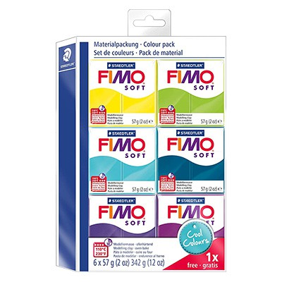 Cool colours Fimo soft, 6 x 57g