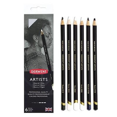Kredki rysunkowe Artists Black & White, Derwent, 6 kolorów
