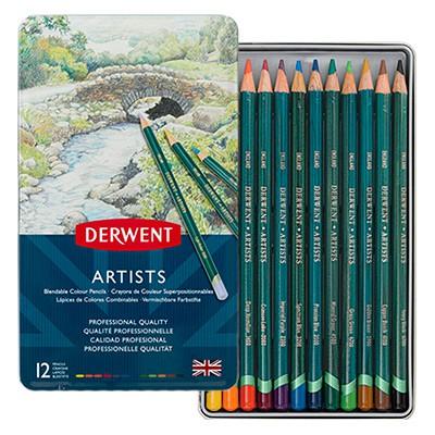 Kredki rysunkowe Artists, Derwent, 12 kolorów
