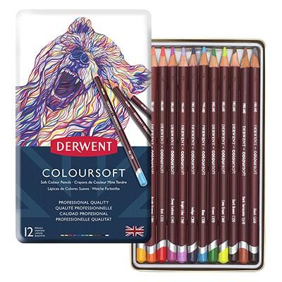 Kredki rysunkowe Coloursoft, Derwent, 12 kolorów