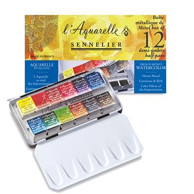 Farby akwarelowe w półkostkach L'Aquarelle, Sennelier, Pocket 12
