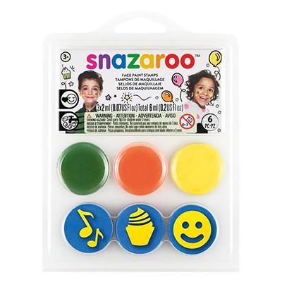 Przyjęcie urodzinowe, zestaw farb + stemple Snazaroo, 3 x 2ml