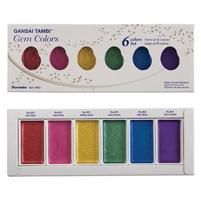 Farby akwarelowe Gansai Tambi, Gem Colors, 6 kol.