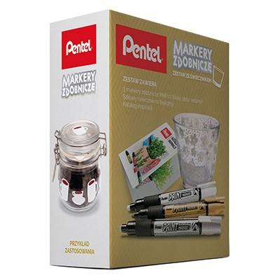 Markery zdobnicze - zestaw ze świecznikiem, Pentel, metallic