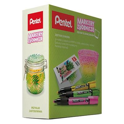Markery zdobnicze - zestaw ze świecznikiem, Pentel, vibrant