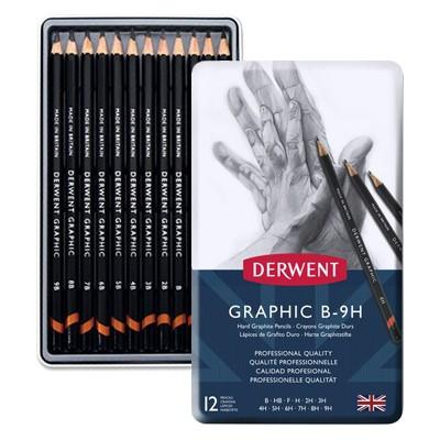 Ołówki rysunkowe Graphic Hard, Derwent, 12 sztuk