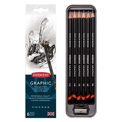 Ołówki rysunkowe Graphic, Derwent, 6 sztuk