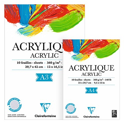 Blok do farb akrylowych Clairefontaine A4, 10 ark.