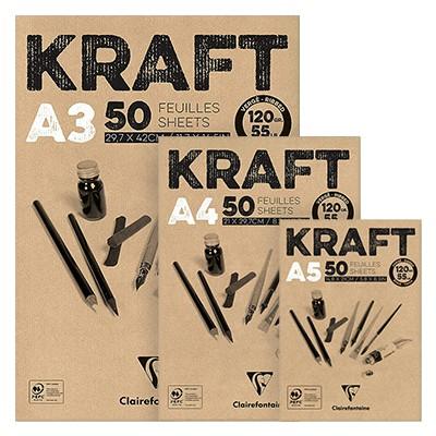 Blok z szarym papierem Kraft, A3, 120g, 50 ark.