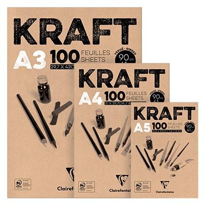 Blok z szarym papierem Kraft, A3, 90g, 100 ark.