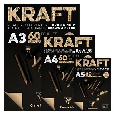 Szaro-czarny blok Kraft, A4, 90g, 60 ark.