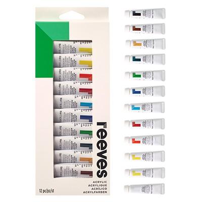 Farby akrylowe zestaw firmy Reeves, 12 x 10ml