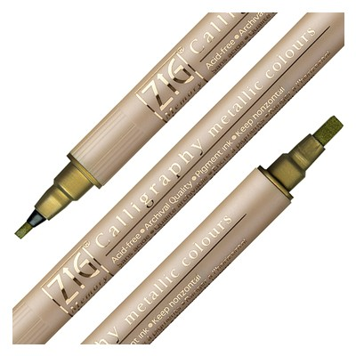 Gold, dwustronny pisak Calligraphy metallic colours, Kuretake
