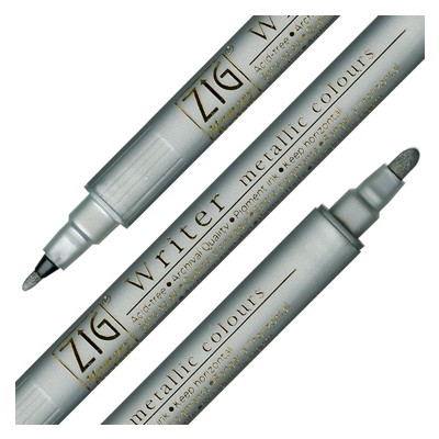 Silver, dwustronny pisak Writer metallic colours, Kuretake