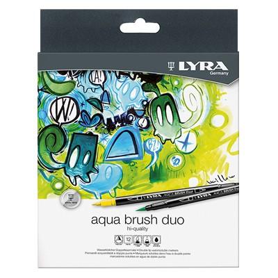 Wodne pisaki pędzelkowe Aqua Brush Duo, Lyra, 12 kolorów