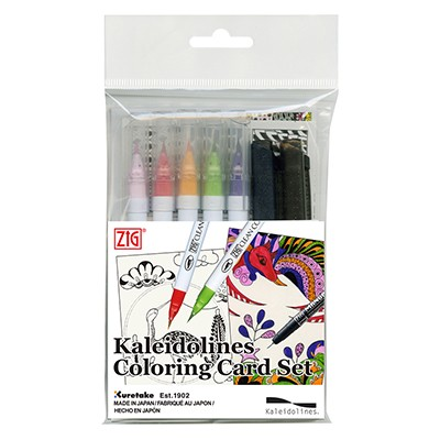 kaleidolines coloring card set kuretake