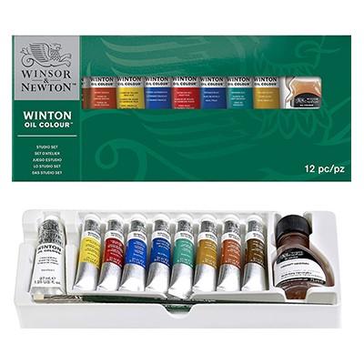 Farby olejne Winton, Winsor & Newton, zestaw 8x21ml + akcesoria