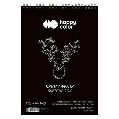 Szkicownik z czarnym papierem Happy Color, 40 ark. 220 g, A4