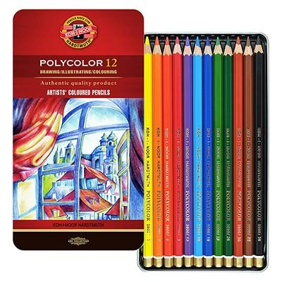Kredki rysunkowe Polycolor Koh-I-Noor, 12 kol. metal.