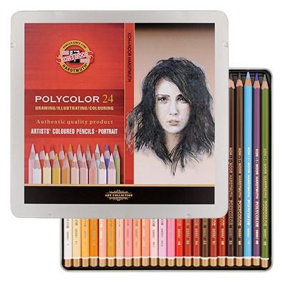 Kredki rysunkowe Polycolor, Koh-I-Noor, 24 kolory - portretowa