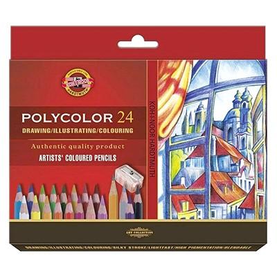 Kredki rysunkowe Polycolor, Koh-I-Noor, 24kol. + akcesoria