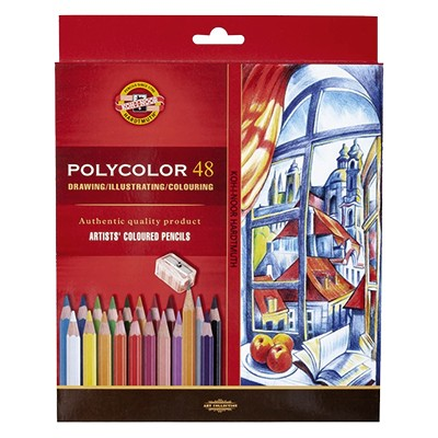 Kredki rysunkowe Polycolor, Koh-I-Noor, 48 kol. + akcesoria