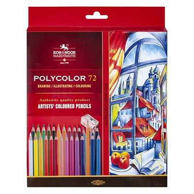 Kredki rysunkowe Polycolor, Koh-I-Noor, 72kol. + akcesoria