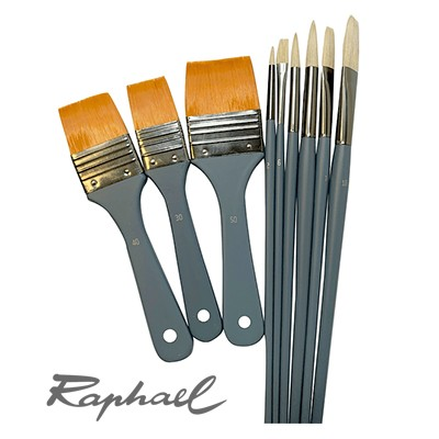 Zestaw pędzli do farb olejnych, Raphael, 9 szt.