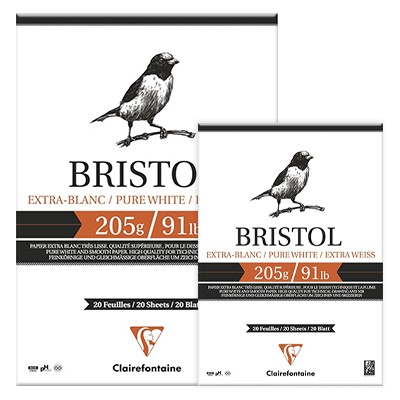 Bristol blok, Clairefontaine, A4 20 ark, 205g