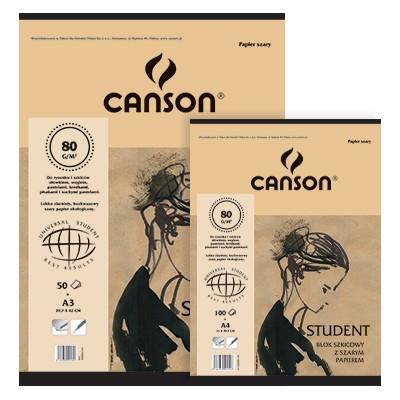 Blok z szarym papierem Canson A3, 50 ark. 80 g