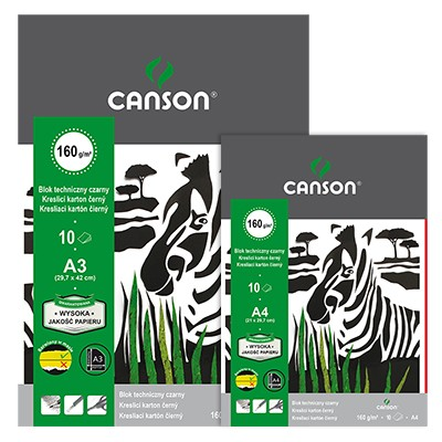 Blok techniczny czarny A3 Canson, 10 kartek 160g