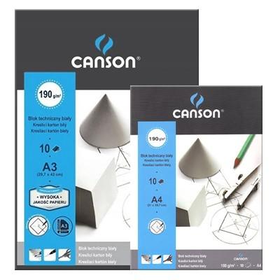Blok techniczny biały A4 Canson, 10 kartek 190g