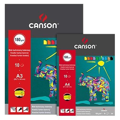 Blok techniczny kolorowy A4 Canson, 10 kartek 180g