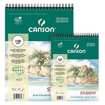 Blok rysunkowy na spirali Canson Student, 30 ark. A5, 150g