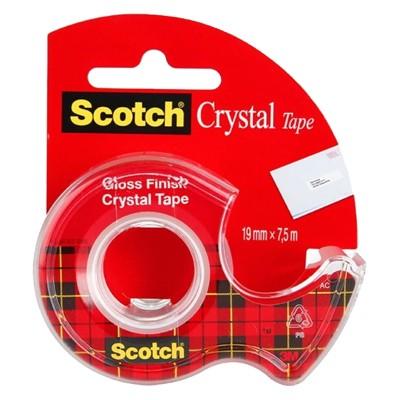 Taśma samoprzylepna Crystal z podajnikiem, Scotch, 19mm x 7,5m