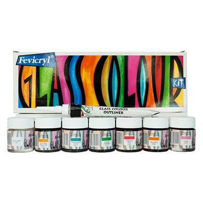 Farby do szkła Fevicryl Glass, Pidilite, 6 x 10ml + akcesoria