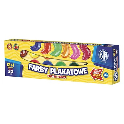 Farby plakatowe Astra, zestaw 12 x 20 ml
