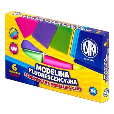 Modelina fluorescencyjna, Astra, zestaw 6 kolorów
