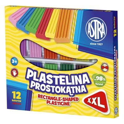 Plastelina prostokątna, Astra, zestaw 12 kolorów