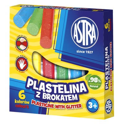 Plastelina z brokatem Astra 6 kolorów