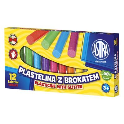 Plastelina z brokatem, Astra, zestaw 12 kolorów