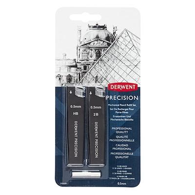 Wkłady grafitowe Precision, Derwent 0.5 mm, 2 op. + gumki