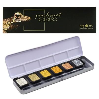 Farby akwarelowe perłowe, Finetec, 6 kol.