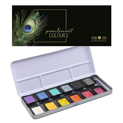 Farby akwarelowe perłowe, Finetec, 12 kol.