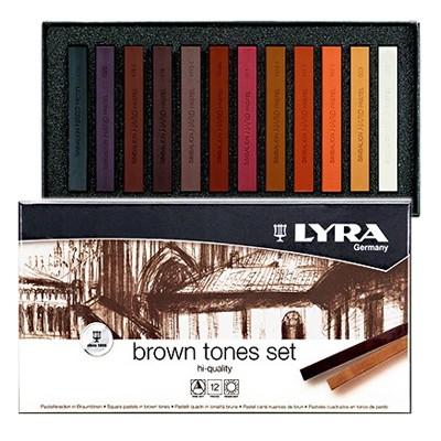 Pastele suche Lyra - gama brązów, zestaw 12 kolorów