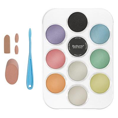 Perłowe barwy + media, zestaw pasteli PanPastel, 10 szt